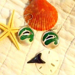 """Dolphin Earrings Silver & Green 1 1/4"""""""